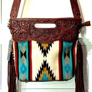 American Darling NWT Blanket & Tooled Leather Bag